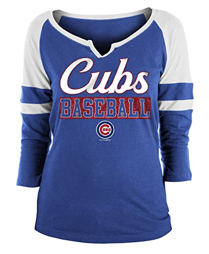 0b815bd6d45 New Era Chicago Cubs Ladies Slub Jersey 3/4 Sleeve Raglan Split Scoop T-