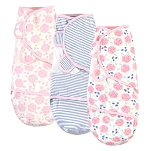 Touched by Nature Unisex Baby Organic Cotton Swaddle Wraps, Pink Rose, 0-3 Months