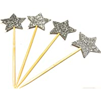 happy birthday cupcake toppers 12 x Glitter Silver stars cupcake toppers Celebrations