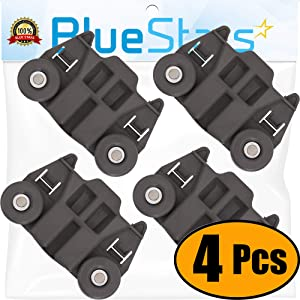 [UPGRADED] Ultra Durable W10195417 Dishwasher Track Replacement Part by Blue Stars – Exact Fit For Whirlpool & Kenmore Dishwashers - Enhanced Durability with Steel Screws - PACK OF 4