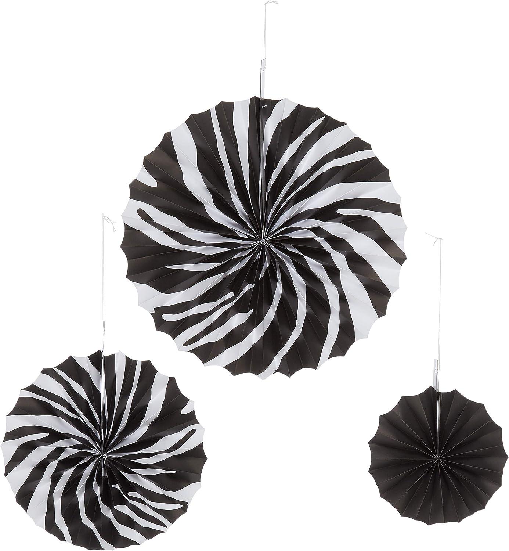 Amscan Zebra Stripes Printed Paper Fans   6 pcs   Party Decor