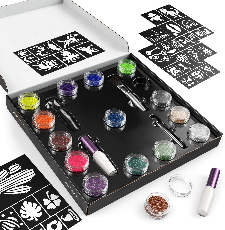 Tatuaggi per bambini e Adulti 2 Applicatori di Colla e 40 Stencil Arteza Kit Glitter di Tatuaggi Temporanei Adulti e Bambini Il Kit Tatuaggi Include 15 Body Painting Colori Brillanti 2 Pennelli