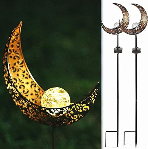 SunKite 2 Pack Garden Solar Light Outdoor Metal Moon Shape Lamp with Waterproof Crackle Glass Globe for Garden,Lawn,Patio,Pathway or Courtyard