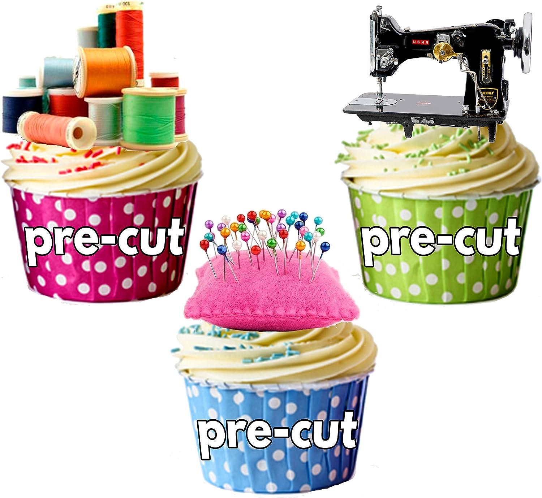 Decoraciones para tartas con forma de máquina de coser, bobinas de ...