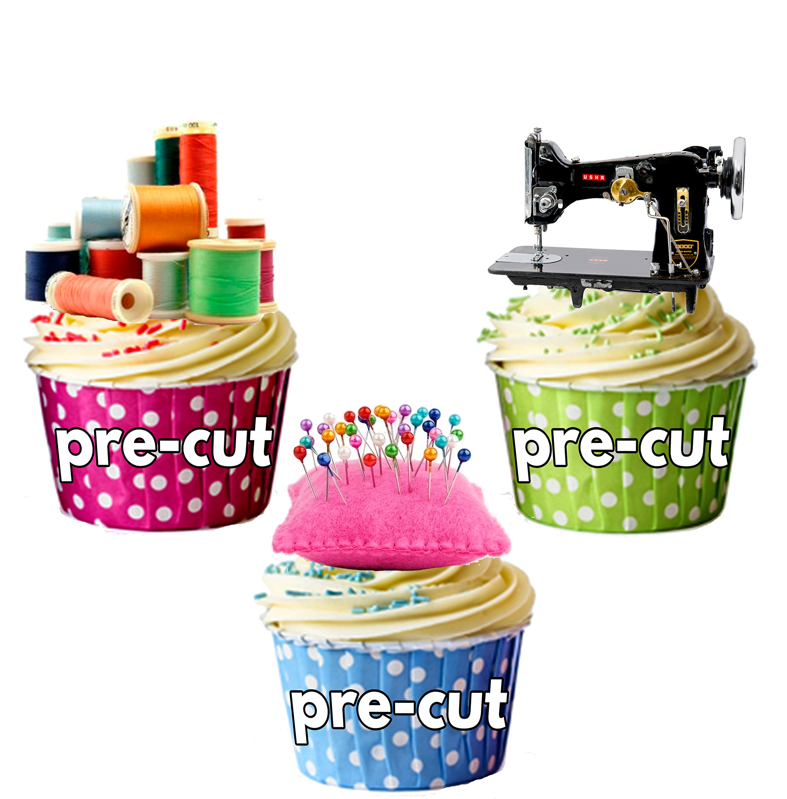 17 PRECUT Edible Sewing Craft wafer paper cake//cupcake toppers