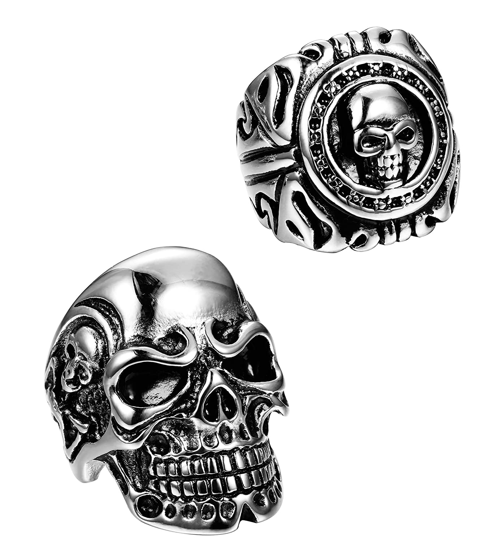 Milacolato 2 PCS Anillo de Acero Inoxidable para Hombres Adolescentes Skull Biker Ring US 8-13 MLE-M-R0001