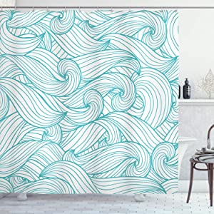 Ambesonne Turquoise Shower Curtain, Abstract Pattern with Waves and Cloud Fashion Modern Style Work of Art, Cloth Fabric Bathroom Decor Set with Hooks, 75