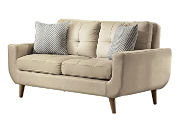 Homelegance Deryn Mid Century Modern Loveseat With Tufted Back And Two  Herringbone Throw Pillows,