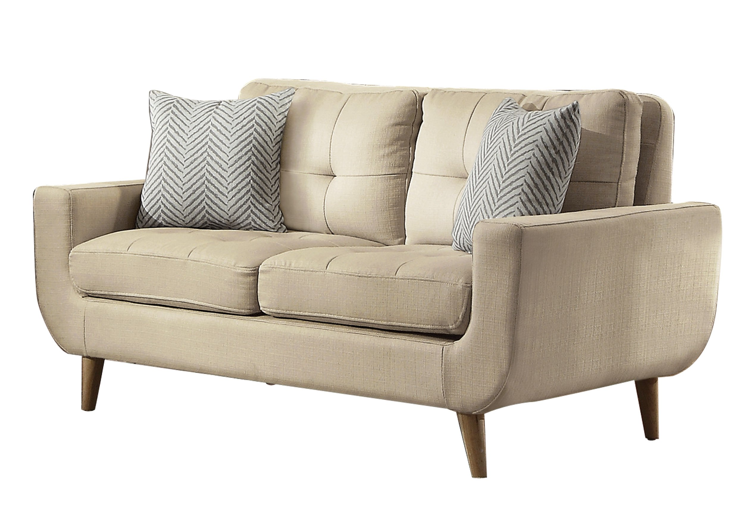 Homelegance Deryn Mid-Century Modern Loveseat with Tufted Back and Two Herringbone Throw Pillows, Beige by Homelegance (Image #1)