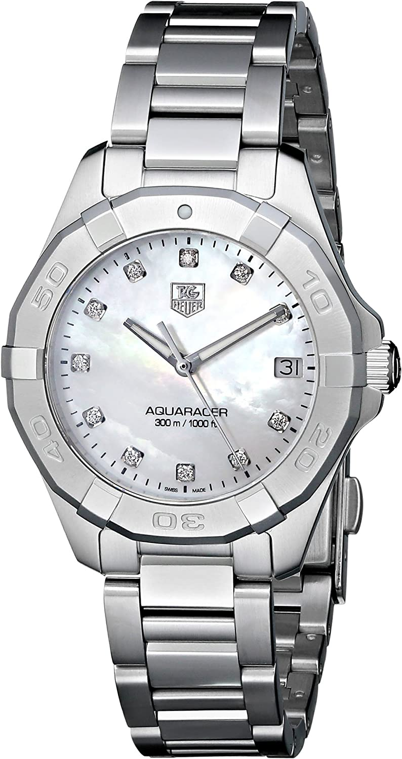 B00NQ3GZIY TAG Heuer Women\'s WAY1313.BA0915 Aquaracer Diamond-Accented Stainless Steel Watch 81mm42IsIWL.UL1500_