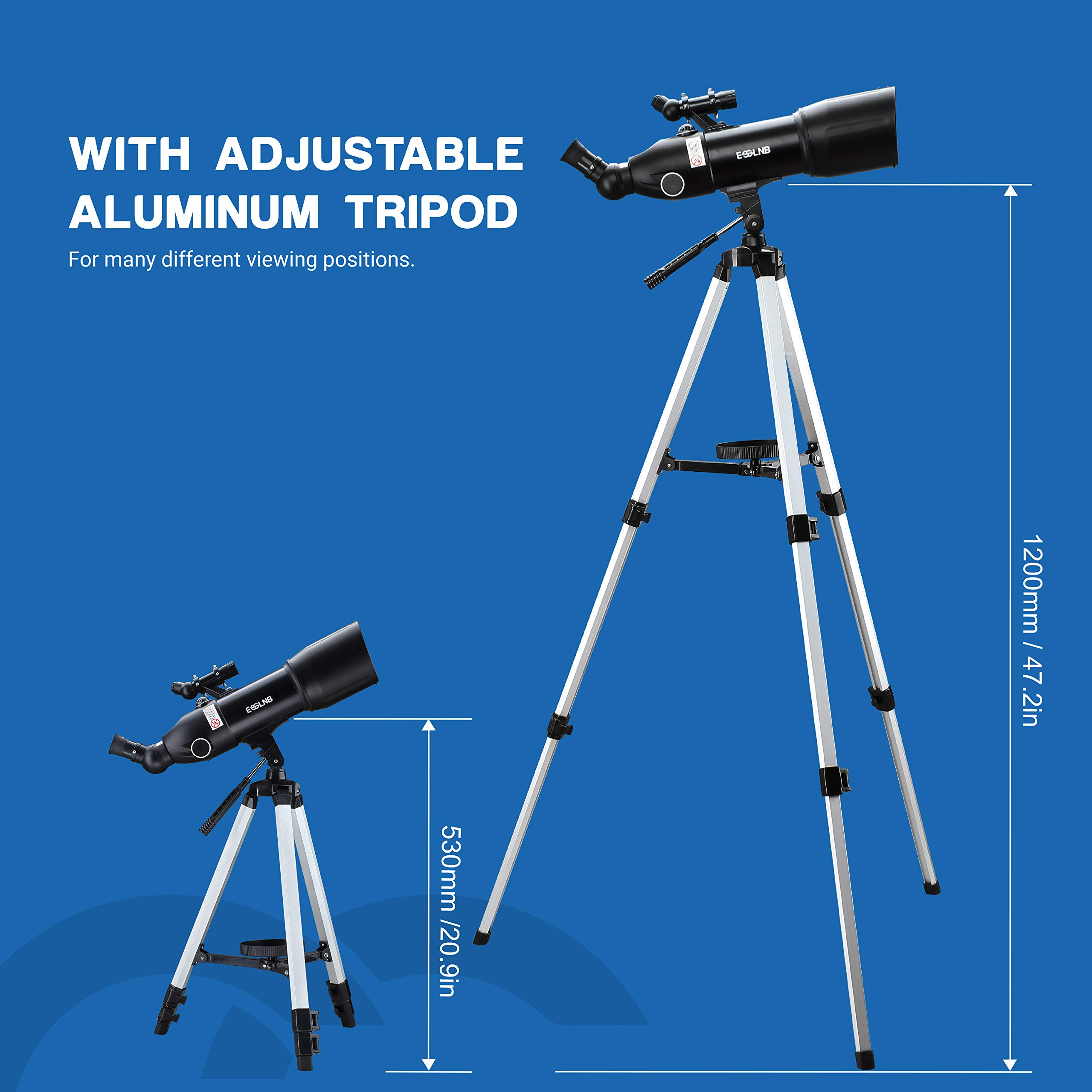 ESSLNB Telescopes for Adults Astronomy Beginners Kids 400X80mm with 10X Smartphone Adapter Adjustable Tripod Case and Moon Filter Erect-Image Diagonal Prism by ESSLNB (Image #5)