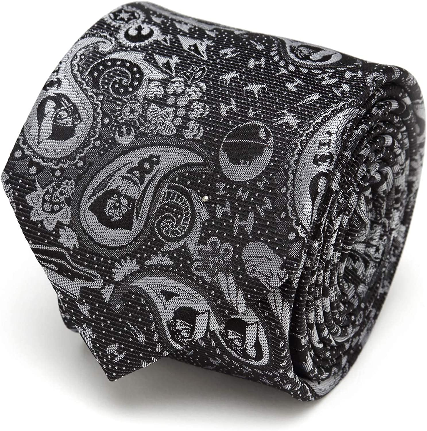 Vader Paisley Black and White Men's Tie 81mm4Pdf42L