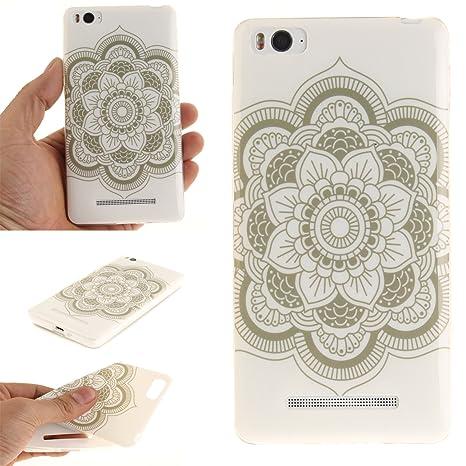 Qiaogle Teléfono Caso - Funda de TPU silicona Carcasa Case Cover para Xiaomi Mi4C / Mi 4I (5.0 Pulgadas) - (TX35 / Blanco Mandala)
