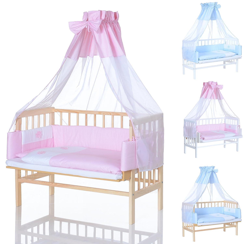 Lit Cododo Bebe - enfant lit d´supplémentaire 90x40 cm blanc avec set de literie set rose de qualité supérieure LCP Kids