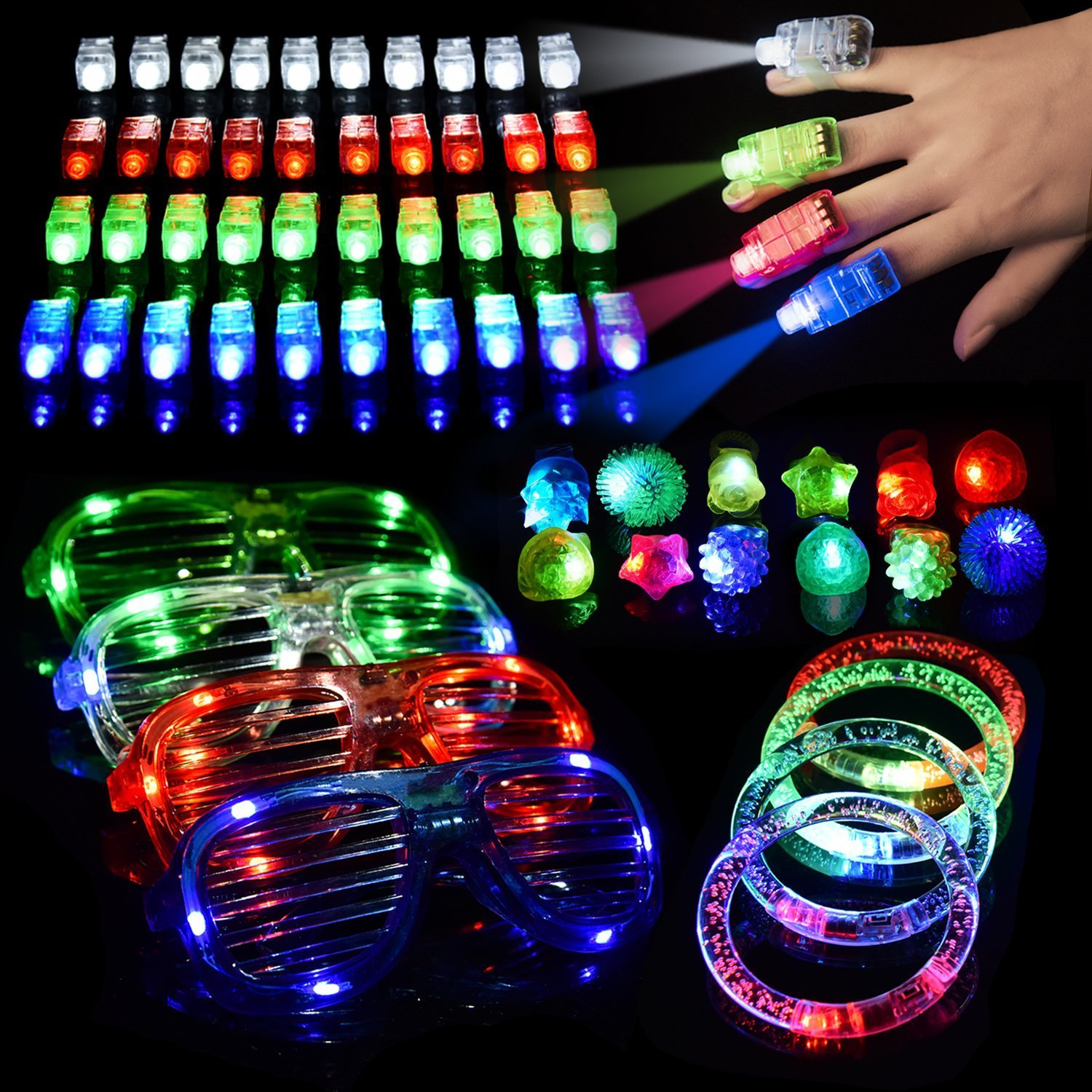 FUN LITTLE TOYS 60 PCS LED Light Up Toys Glow in the Dark Party Supplies, Party Favors for Kids with 40 LED Finger Lights, 12 Flashing Bumpy Rings, 4 Bracelets and 4 Flashing Slotted Shades Glasses