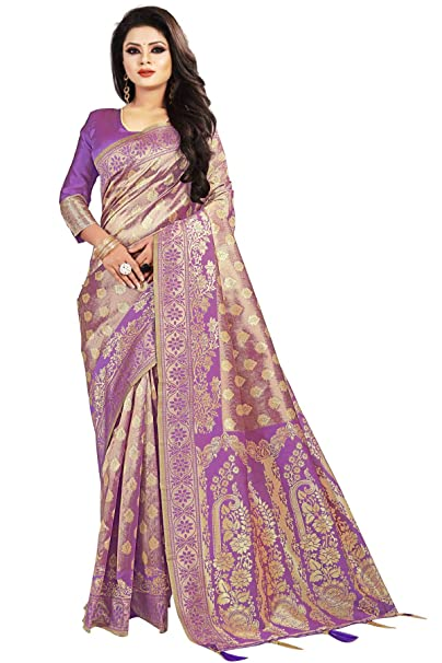 c5ee7ba07 SareeShop Women s Silk Purple Jacquard sarees (Apple-3218-SAREESHOP)   Amazon.in  Clothing   Accessories