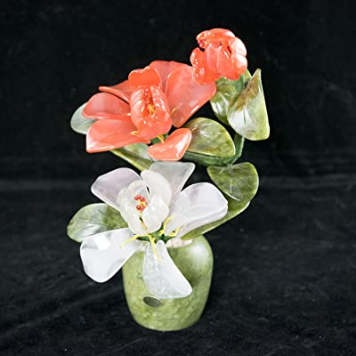 Vintage Chinese Carved Semi Precious Stone Flowers Bonsai Tree # 3948: Garden & Outdoor