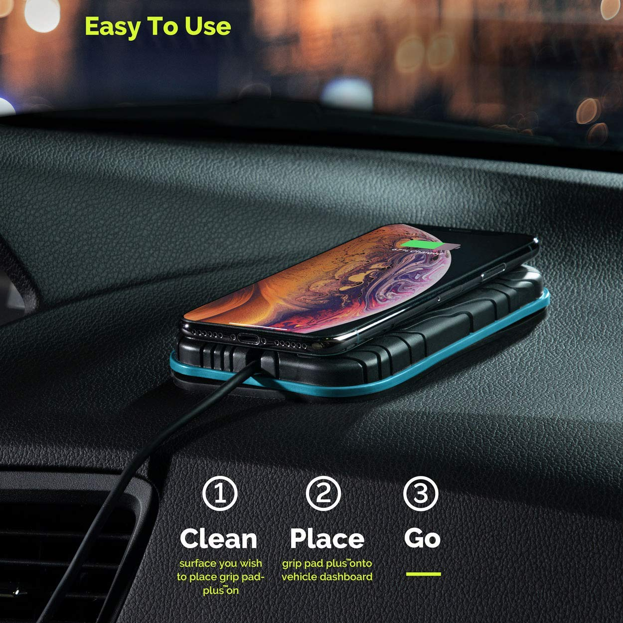 Black Wireless Car Charger and Phone Holder for Car 10 W Fast Charge Wireless Charging Grip Pad Plus Qi Wireless Charger Sticks to All Automotive Dashboards Simplest Car Phone Mount Available