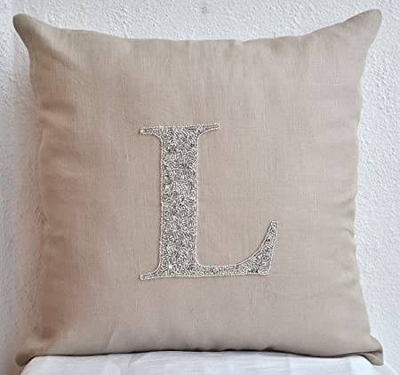 Amore Beaute Handmade Decorative Pillow Cover – Customized Silver Sequin Monogrammed Pillow – Personalized Throw Pillows -Gray Pillow Cover in Linen Blend with Hand Embroidered Monogram