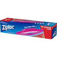 Ziploc Plastic Storage Bags with Smart Zip Plus Seal and Easy Open Tabs, BPA Free, Microwave Safe, Large, 19 Count