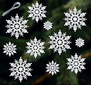 Lemonfilter 56pcs Plastic Snowflake Ornaments, Christmas Glitter Snowflake Hanging Decorations for Christmas Tree Wedding Embellishing Party Decorations Assorted Sizes 2, 3, 4, 5 Inches (White)