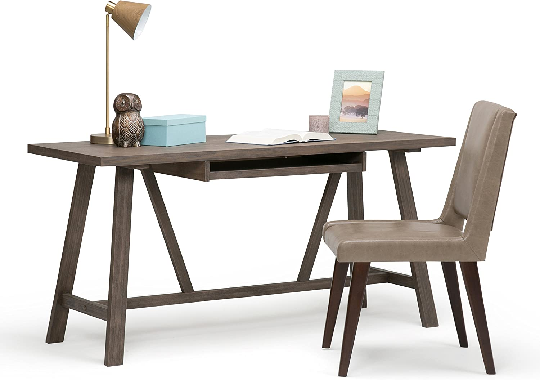 SIMPLIHOME Modern Industrial Trestle Table