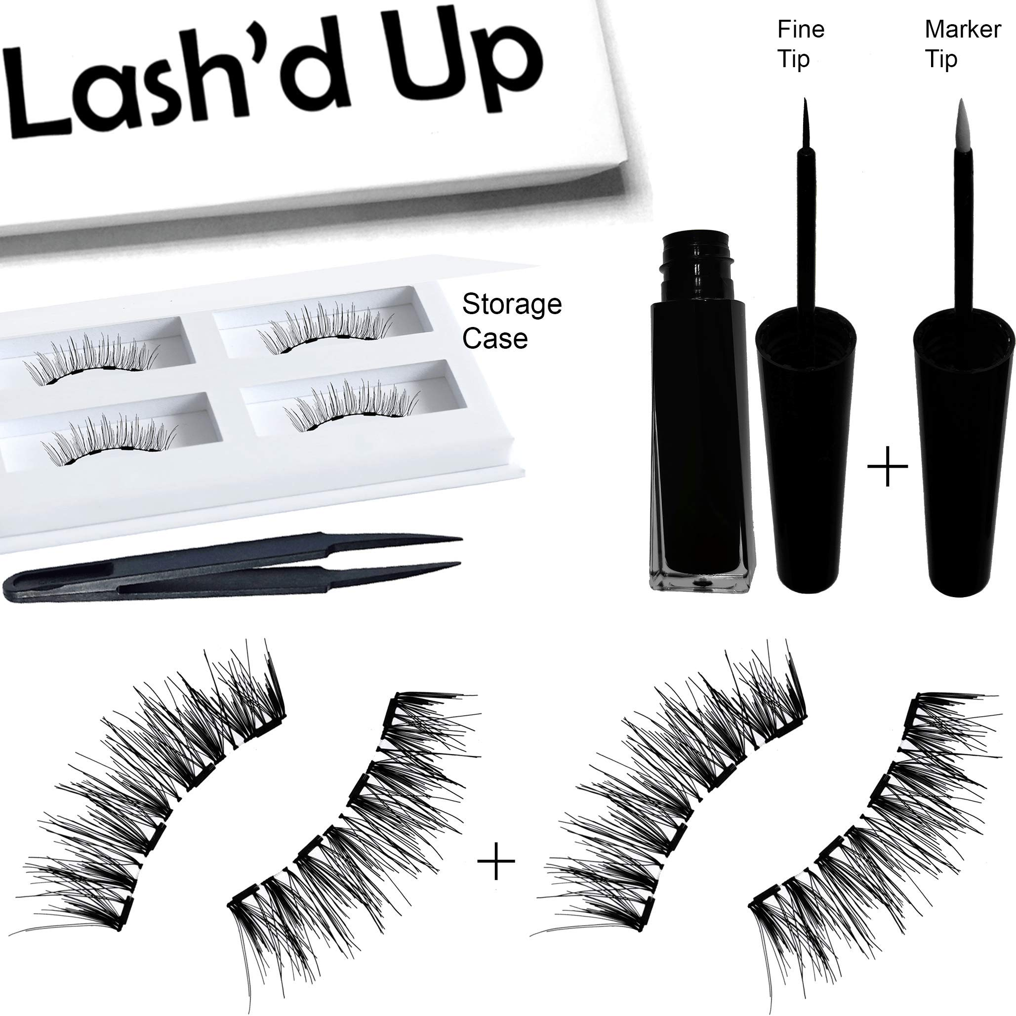 Lash'd Up All Day Tattoo Very Black Magnetic Liner & Human Hair Lashes (2 Pairs) kit Waterproof Reusable Child Cancer Partner | Eyeliner 5ml + Runway Girl Human Hair Lashes (Midsize-Large Eyes)