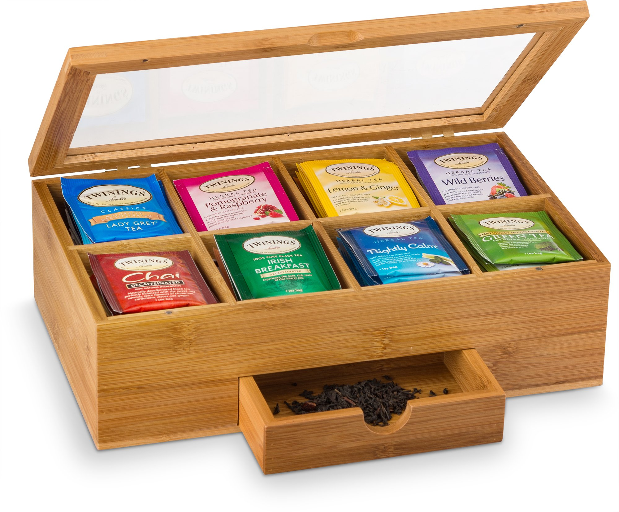 Premium Bamboo Tea Box Organizer - Natural Wood Teabag Holder Organizer - 8 Storage Compartment with Small Drawer - Great Gift Idea by Bambüsi