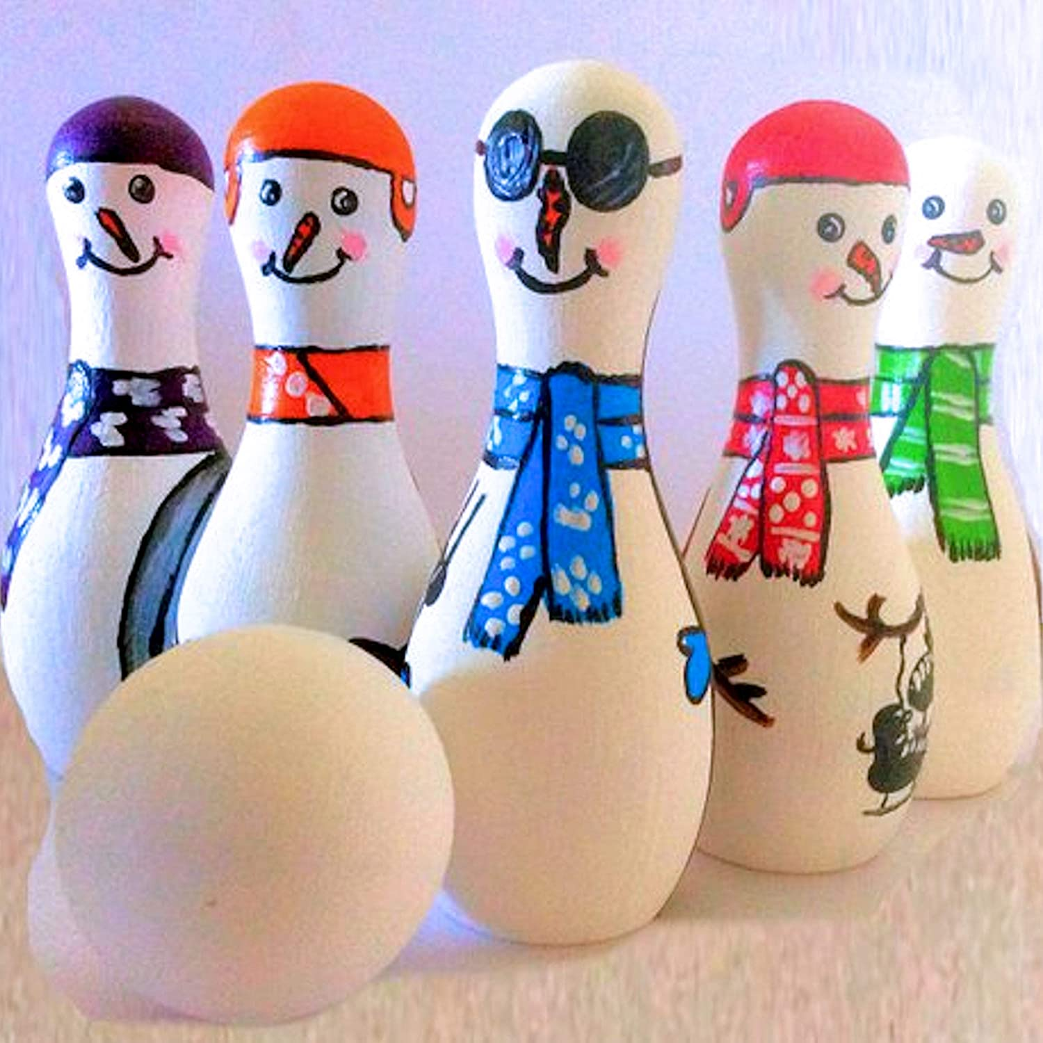 MDH Toys Snowman Tabletop Bowling Game Stocking Stuffer Gift For Kids made in Canada