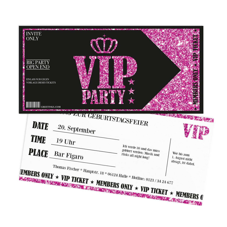 Birthday Invitations Pink Vip Lady S Night Includes Print