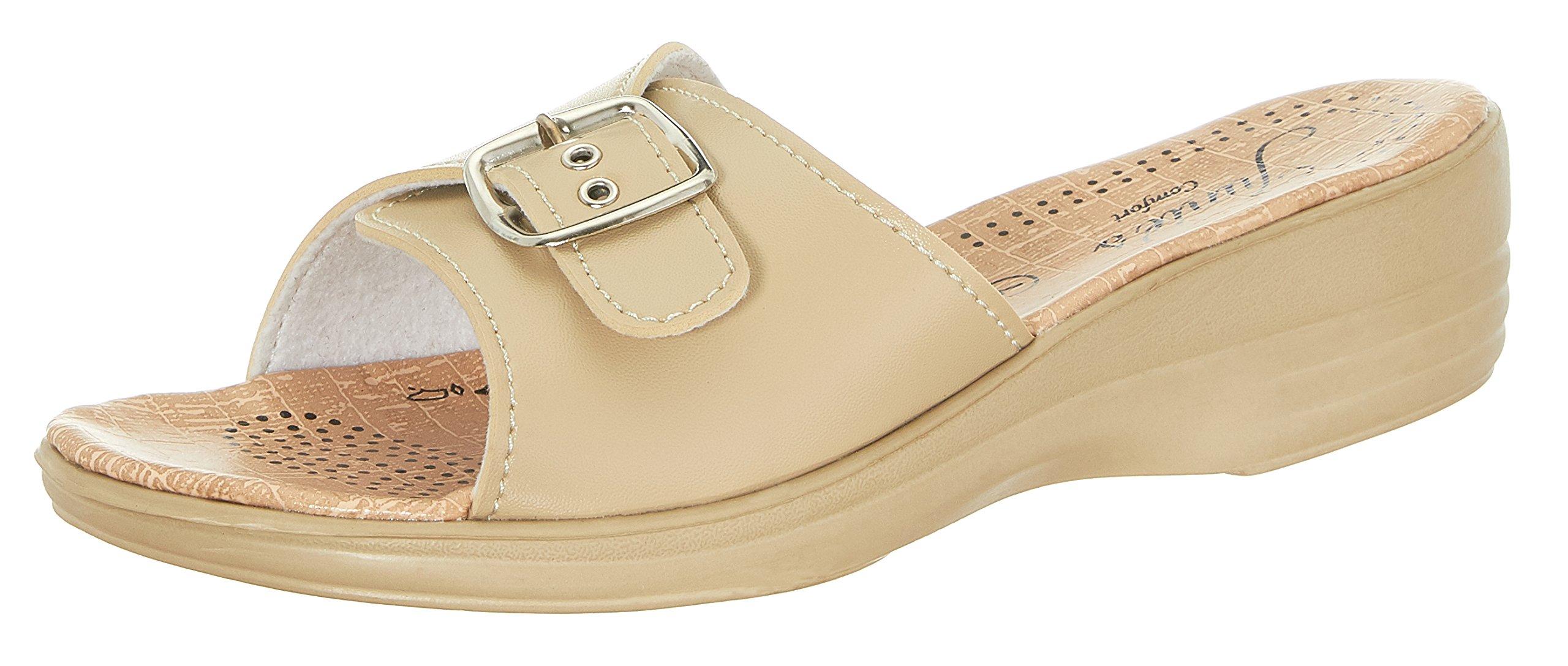 Junie's Comfort Womens Slip-on Wedge Slide Sandals, Single Buckle Accent - 7769, Beige, Size 9