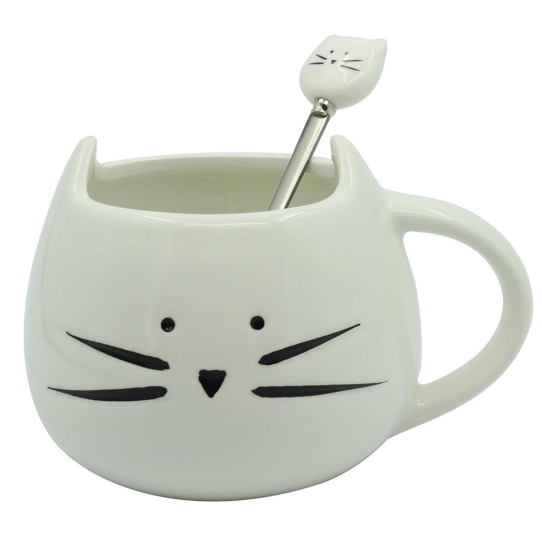 Moonpop - Juego de taza de gato para café y cuchara de gato, 300 ml, taza de cerámica con animal, té, leche, agua., White set, mediano: Amazon.es: Hogar