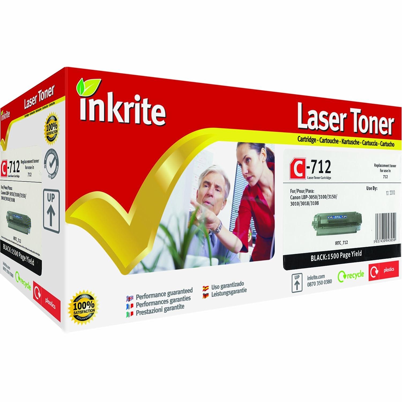 Inkrite IRTC_712 - Cartucho de tóner láser compatible con Canon y LBP3010, 3018, 3100, 3108 y Canon 3050, color negro 9319a1