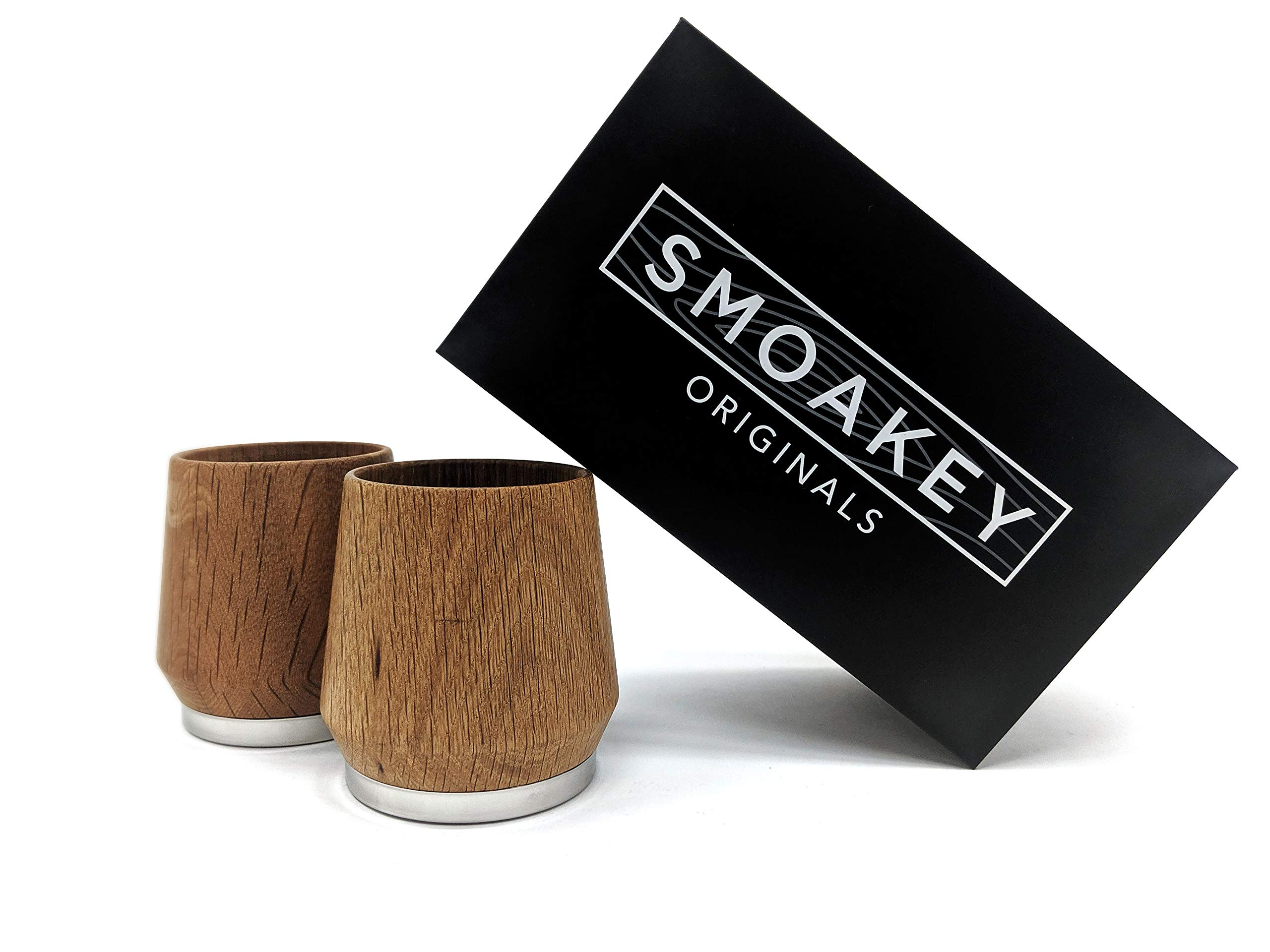 Smoakey Originals Premium White Oak Wood Whiskey Cups Sealed With A Natural Wax Oil Finish And Stainless Steel Base, Set of 2 Glasses