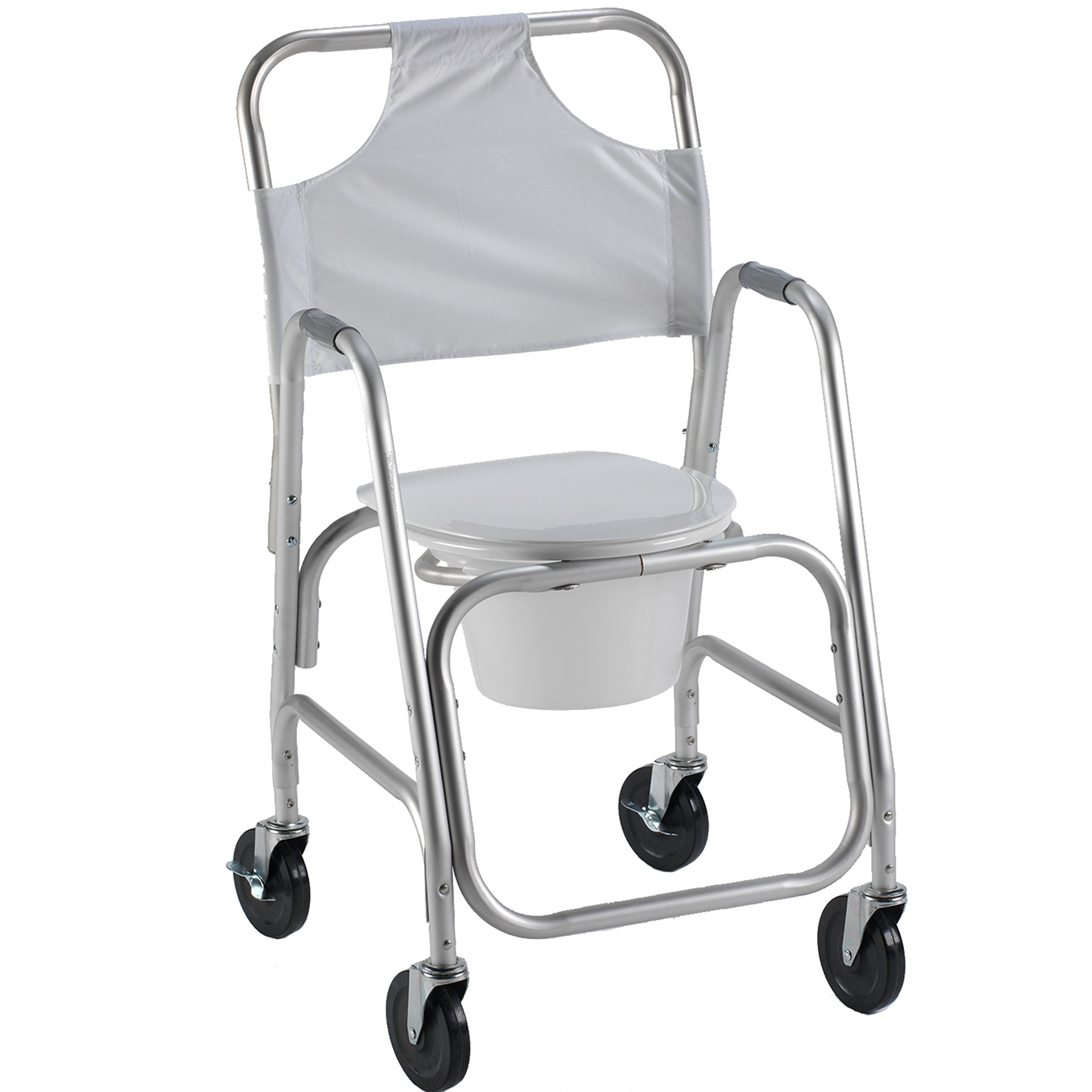 PCP Lightweight Shower Transport Chair with Commode Pail, Grey