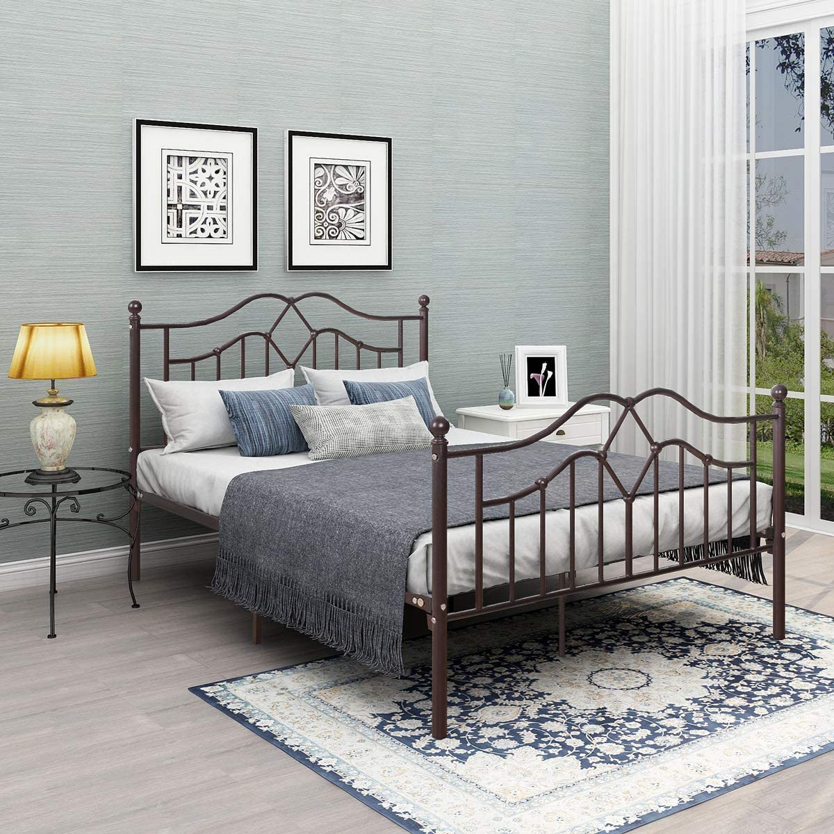 Metal Bed Frame Full Size with Steel Headboard and Footboard Mattress Foundation Bedroom Furniture Box Spring Replacement for Adults Bronze
