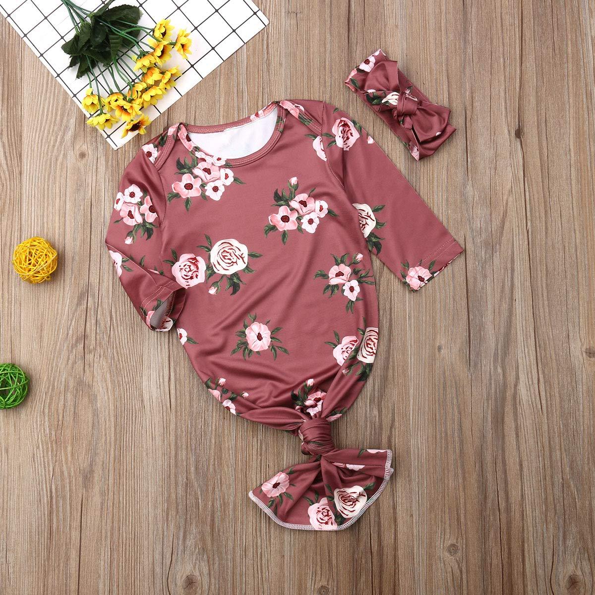 sushine Newborn Baby Sleepy Floral Striped Gown Headband Sleepwear Romper Sleeping Bags E-Red Stripe Headband, 0-6 Months