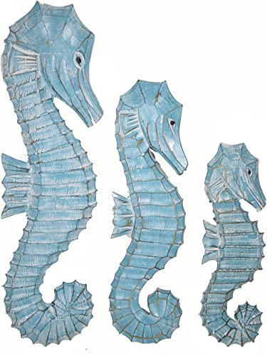 WorldBazzar Nautical Set of 3 Wood Teal Blue Aqua Seahorses Wall Art Decor 20 16 12