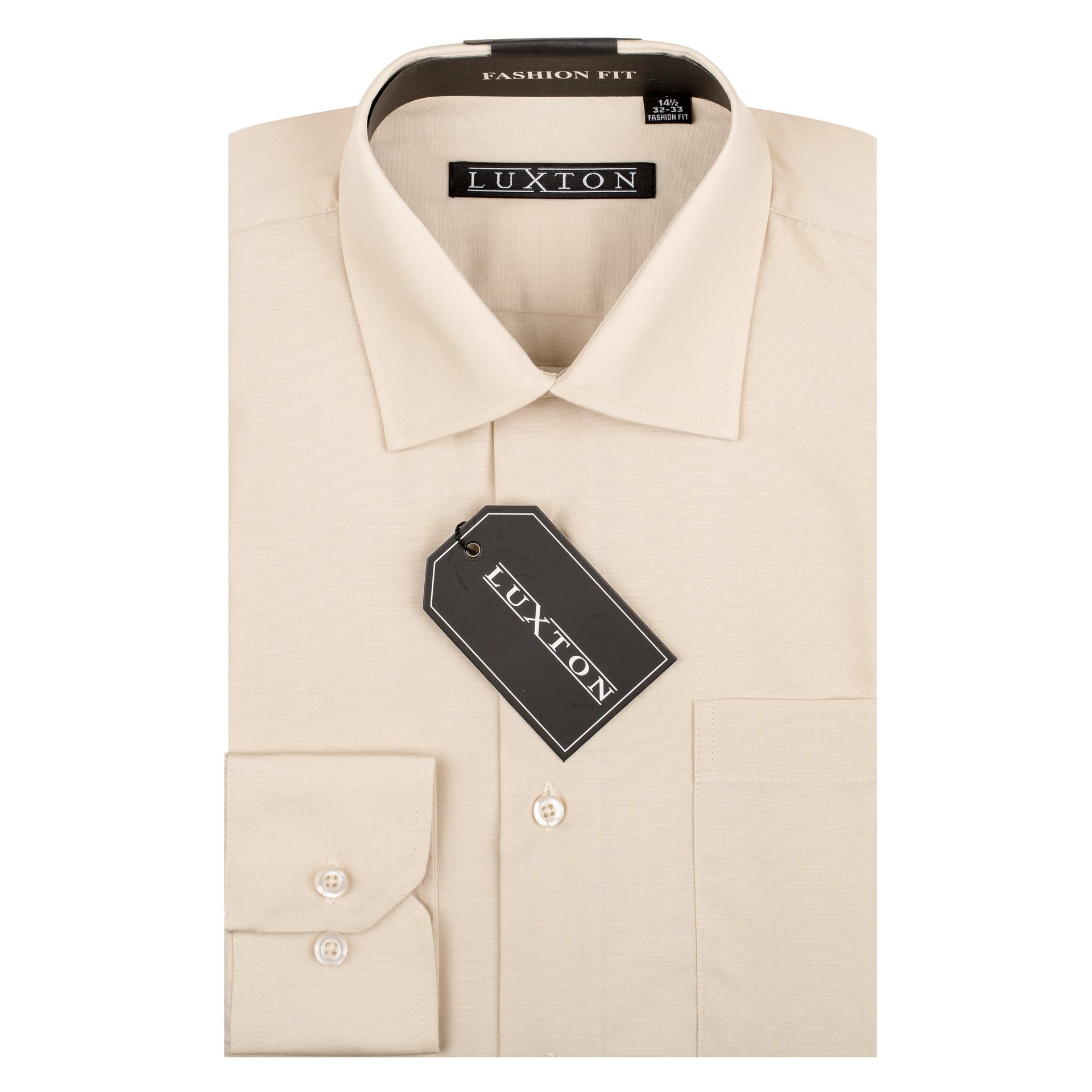 Luxton Cotton Poly Shirt Collection Regular Fit (Tan 23,Large/Neck:16-16 1/2, Sleeve:34/35)