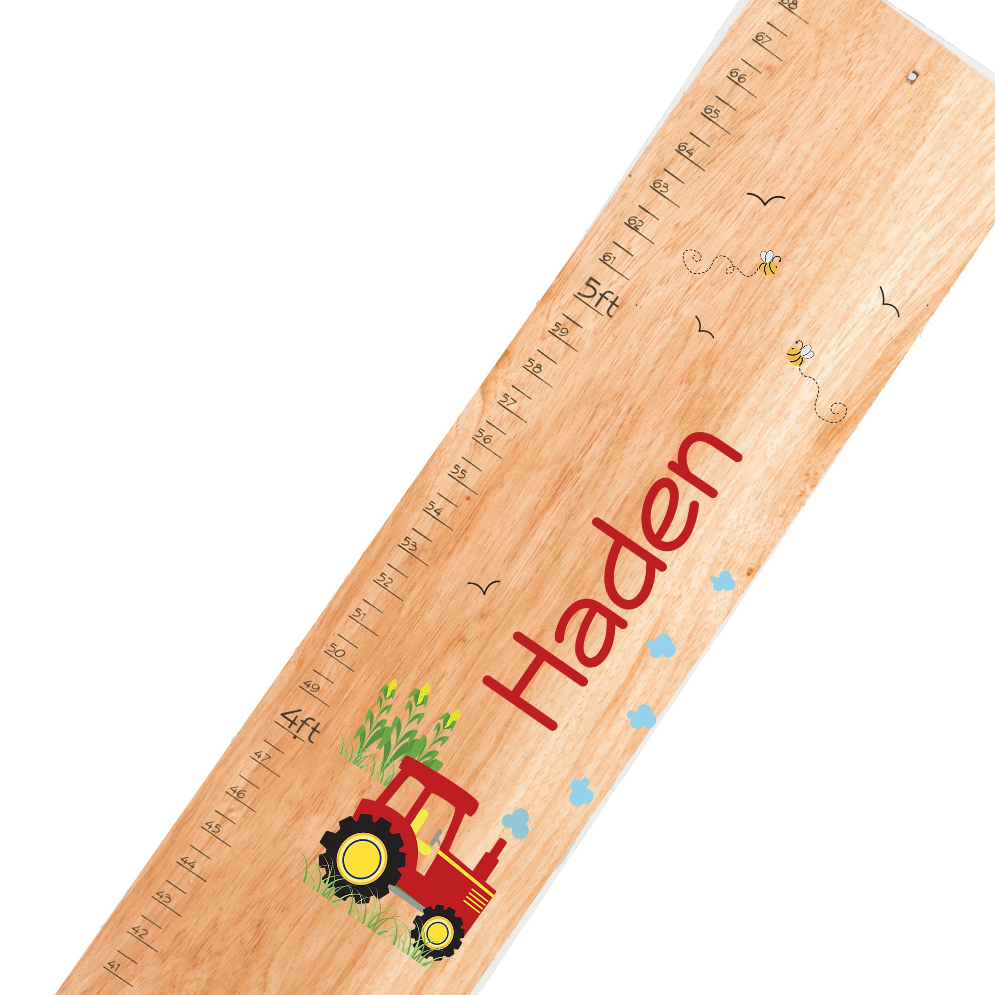 Personalized natural Red Tractor childrens wooden growth chart