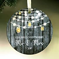 """1st Christmas Ornament Mr and Mrs 2019 4"""" Wood 1st Christmas Married Ornament Barnwood Grey"""