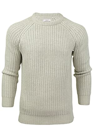 9c553a631 Xact Mens Jumper Fashion Chunky Fisherman Knit with Elbow Patches   Amazon.co.uk  Clothing