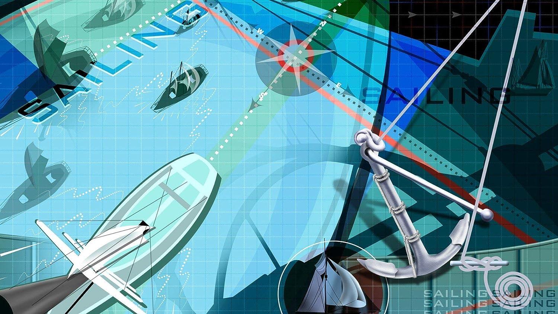 NOVELOVE Imagen de Arte de Pared Minimalista Vela Deportes Cartel Impresión Lienzo Pintura Regalo Decoración para el hogar Sin Marco 50 * 90 cm