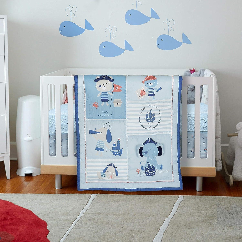 Malak Baby Crib Bedding Set 3 Pieces Blue Elephant/Dog/Cat/Bear Pirates Boys & Girls Bedding