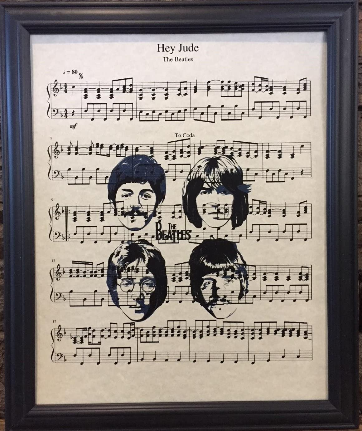 Ready Prints Hey Jude by The Beatles Music Sheet Artwork Print Picture Poster Home Office Bedroom Nursery Kitchen Wall Decor - unframed