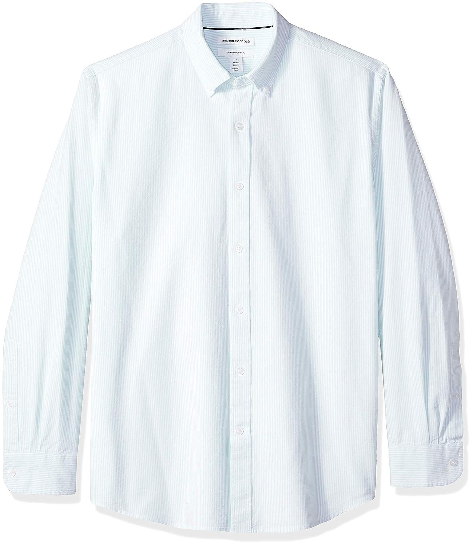 Essentials Mens Regular-Fit Long-Sleeve Stripe Oxford Shirt