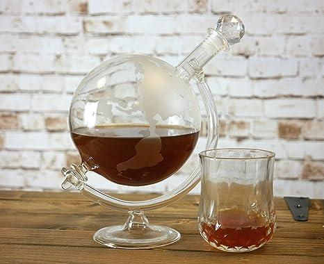 homezone grande cristal vintage globo del Mundo Jarra de Whisky Vino GARRAFA en soporte. 700ml