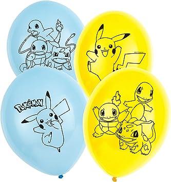 Amscan International Amscan 9904826 27,9 cm, 4 caras, 6 unidades Globo de l/átex dise/ño de Pokemon