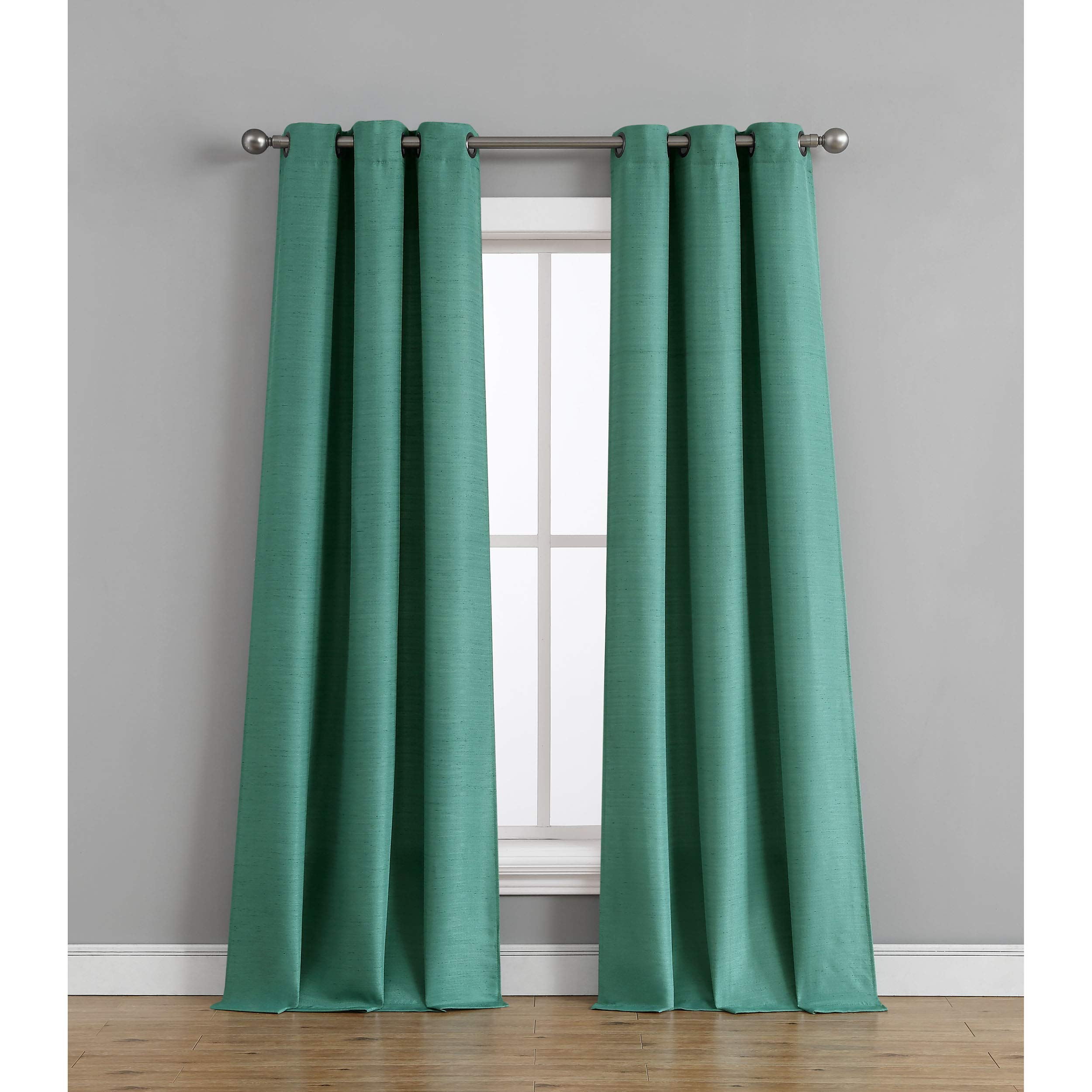 Tribeca Home Raw Faux Silk Curtain Panel Pair, 76 in. x 96 in, Teal