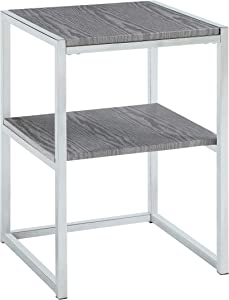 Abington Lane - Contemporary Square End Table - Employs a Fashionable Chrome Frame - Two Tiered for Storage - Perfect for Living Room or Office - (Heathered Grey Finish)